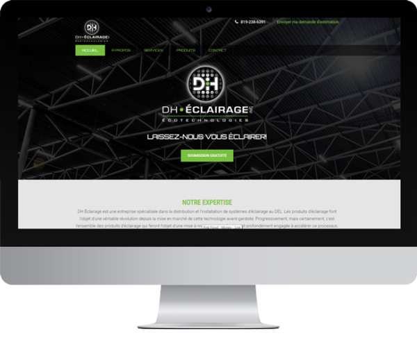 DH éclairage – Conception site Internet