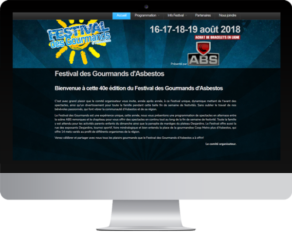 Festival des Gourmands – Conception site Internet