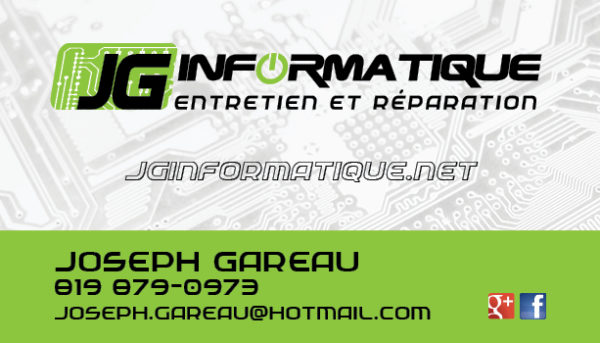 JG informatique – Conception carte affaire