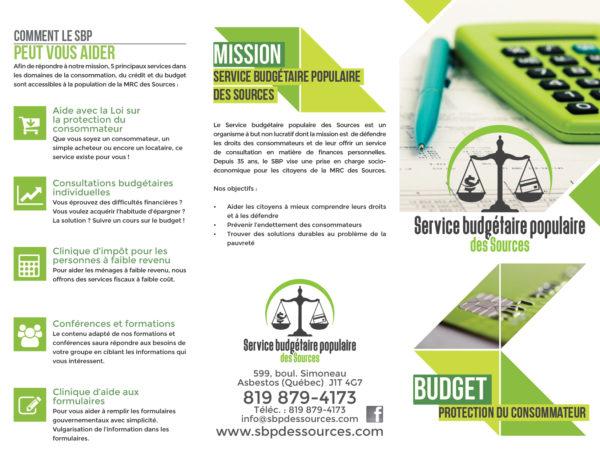 Service budgétaire populaire des Sources – Conception dépliant